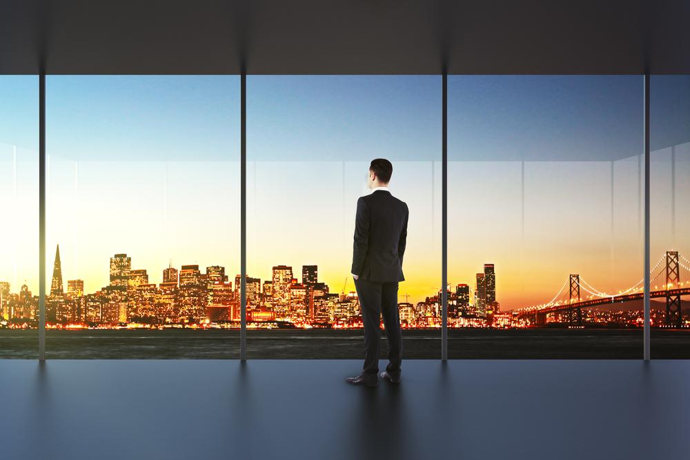 san francisco businessman city view office