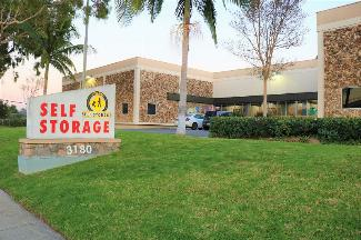 Self-storage facility sign at 3180 Red Hill Ave in Costa Mesa.
