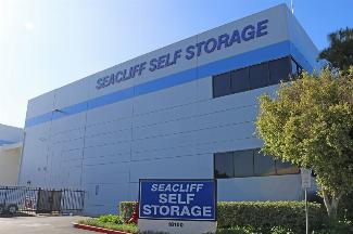 StorAmerica Seacliff self-storage building exterior and sign at 18100 Kovacs Lane, Huntington Beach.